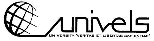 """univels UNIVERSITY """"VERITAS ET LIBERTAS SAPIENTIAE"""""""