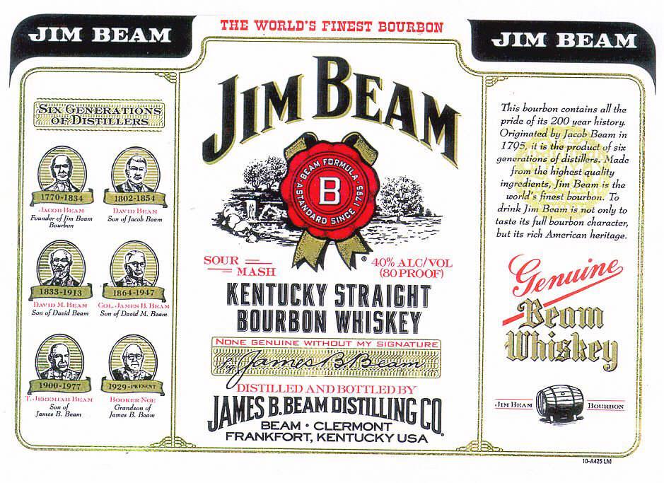JIM BEAM B BEAM FORMULA KENTUCKY STRAIGHT BOURBON WHISKEY