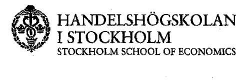 HANDELSHÖGSKOLAN I STOCKHOLM STOCKHOLM SCHOOL OF ECONOMICS