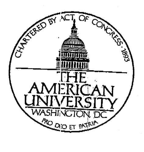 THE AMERICAN UNIVERSITY WASHINGTON DC CHARTERED BY ACT OF CONGRESS .1893 PRO DEO ET PATRIA