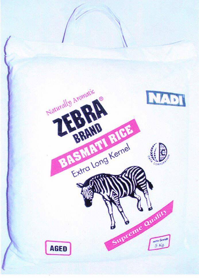 ZEBRA BRAND Naturally Aromatic NADI BASMATI RICE Extra Long Kernel Supreme Quality AGED 5 Kg
