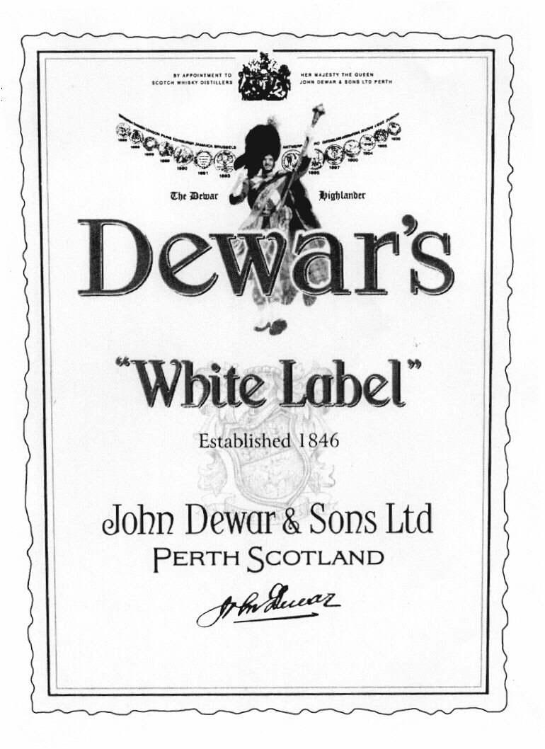 White Label Dewar's The Dewar Highlander Established 1846 John Dewar & Sons Ltd Perth Scotland