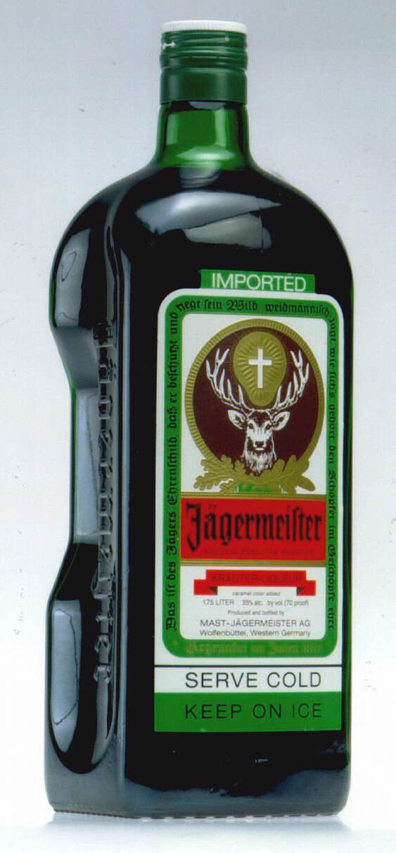 IMPORTED Jägermeister SERVE COLD KEEP ON ICE