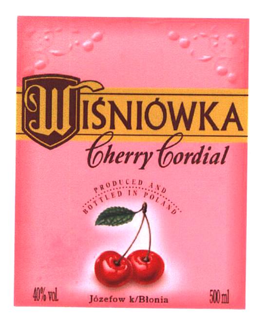 WISNIÓWKA Cherry Cordial PRODUCED AND BOTTLED IN POLAND Józefow k/Blonia 40%v.l 500 ml