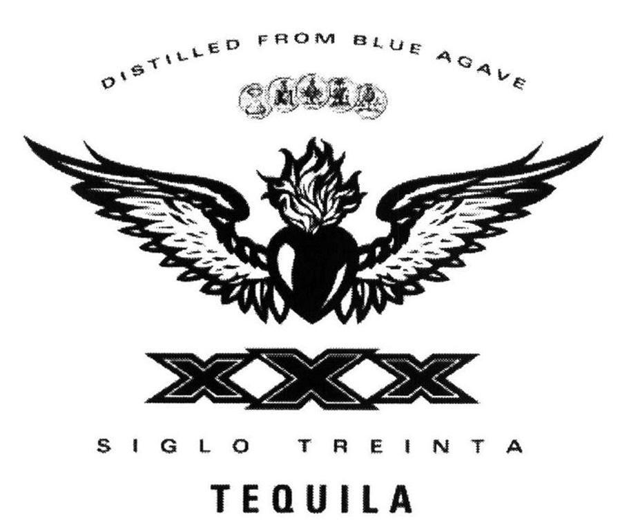 DISTILLED FROM BLUE AGAVE XXX SIGLO TREINTA TEQUILA