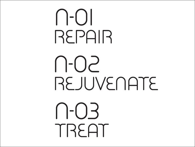N-01 REPAIR N-02 REJUVENATE N-03 TREAT
