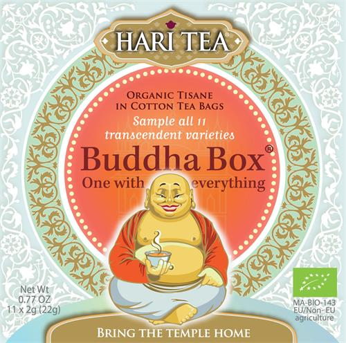 HARI TEA, organic tisane in cotton tea bags, sample all 11 transcendent varieties Buddha Box One with everything