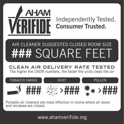 AHAM VERIFIDE Independently Tested. Consumer Trusted. AIR CLEANER SUGGESTED CLOSED ROOM SIZE ###SQUARE FEET CLEEN AIR DELIVERY RATE TESTED The higher the CADR numbers, the faster the unit clean the ai
