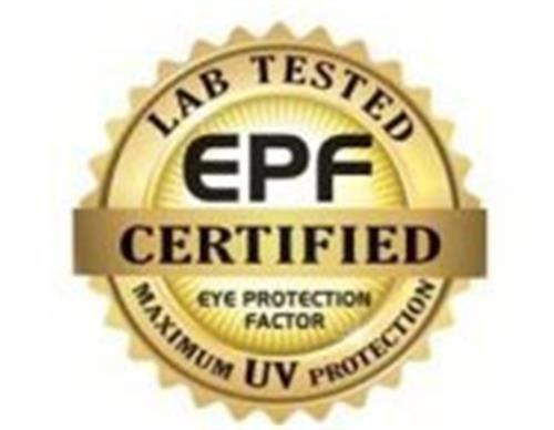 epf CERTIFIED LAB TESTED EYE PROTECTION FACTOR MAXIMUM UV PROTECTION