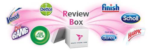 Review Box Health Hygiene Home Finish Scholl Harpic Love Sex Durex Air Wick Cillit Bang Vanish Dettol