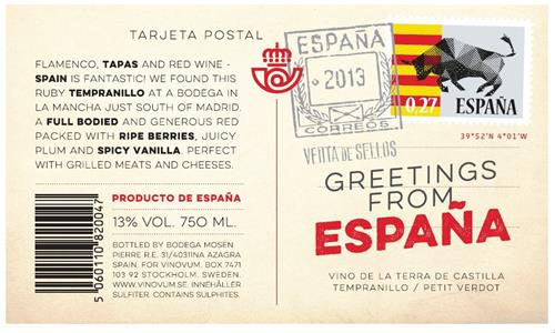Greetings from espaa flamencotapas and red wine spain is fantastic greetings from espaa flamencotapas and red wine spain is fantasticwe found this ruby tempranillo at a bodega in la mancha just south of madrid m4hsunfo