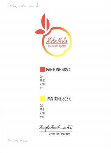 Mela Mila Premium Apples PANTONE 485 C C:4 M:97 Y:98 K:1
