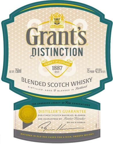 GRANT'S DISTINCTION PRODUCT OF SCOTLAND 1887 EST. BLENDED SCOTCH WHISKY