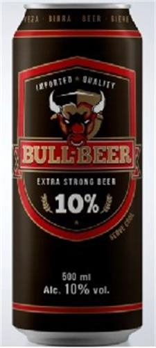 BULL BEER IMPORTED QUALITY EXTRA STRONG BEER 10%