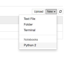 jupyter new notebook button