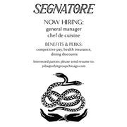 Segnatore hiring Front of House Staff in Chicago, IL