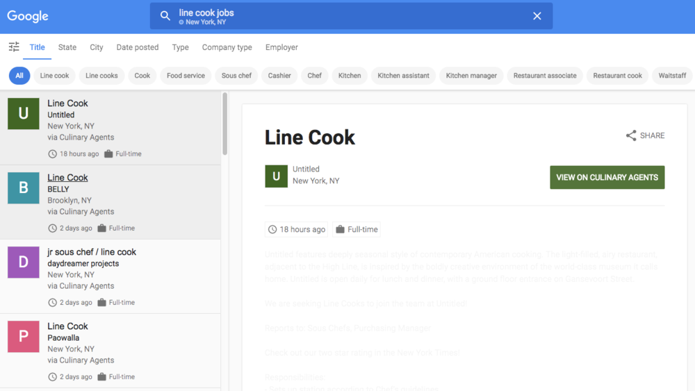 ICYMI: Google Jobs Search & Culinary Agents