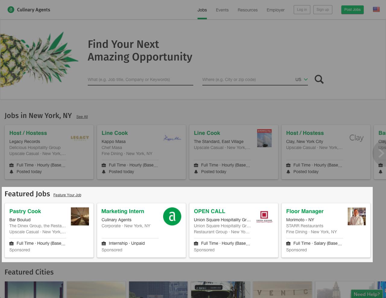 CulinaryAgents JobBoost Landing Page