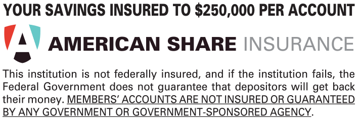 Your savings insured to $250,000 per account.  This institution is not federally insured, and if the institution fails, the Federal Government does not guarantee that depositors will get back their money.  Members' accounts are not insured or guaranteed by any government or government-sponsored agency.
