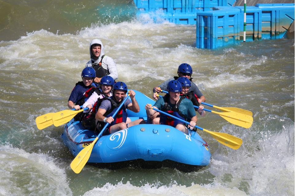 The Oklahoma City team honed their teamwork skills with whitewater rafting.