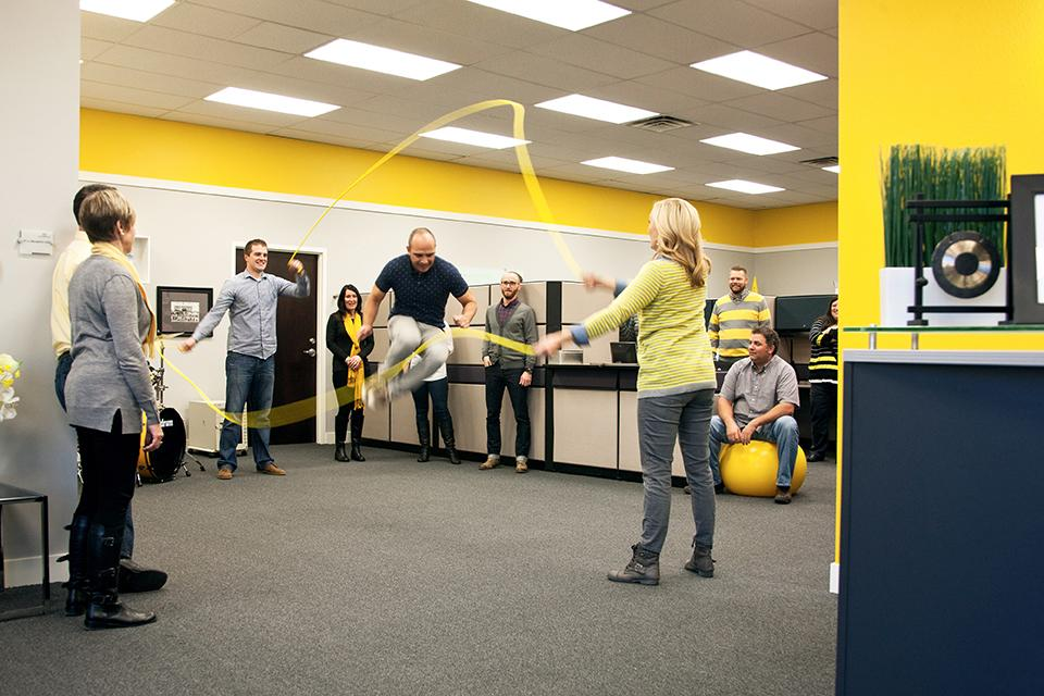 Jump rope in the office is a favorite activity