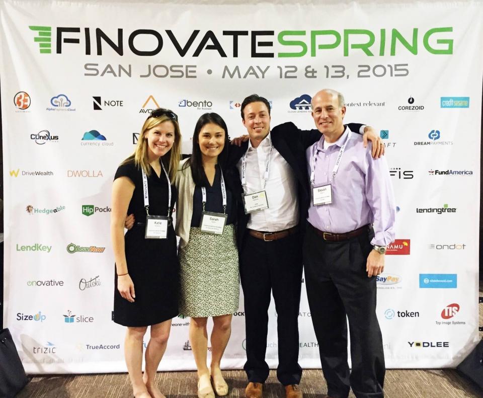 Team CSG representing at Finovate Spring 2015 in San Jose.