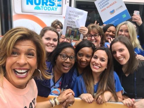 Morristown Medical Center nurses celebrating Nurses Week at the Today Show with Hoda Kotb