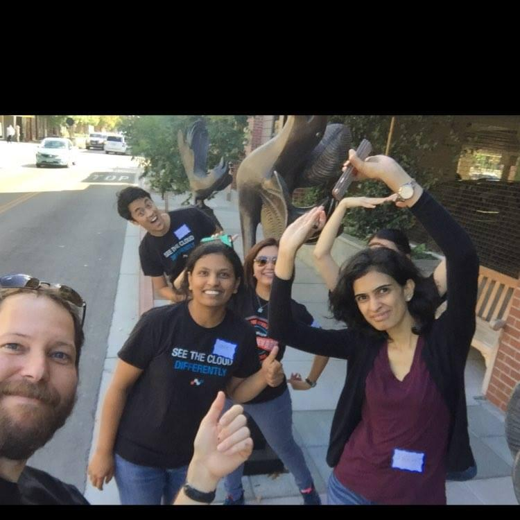 Netskope employees on a scavenger hunt in downtown Los Altos