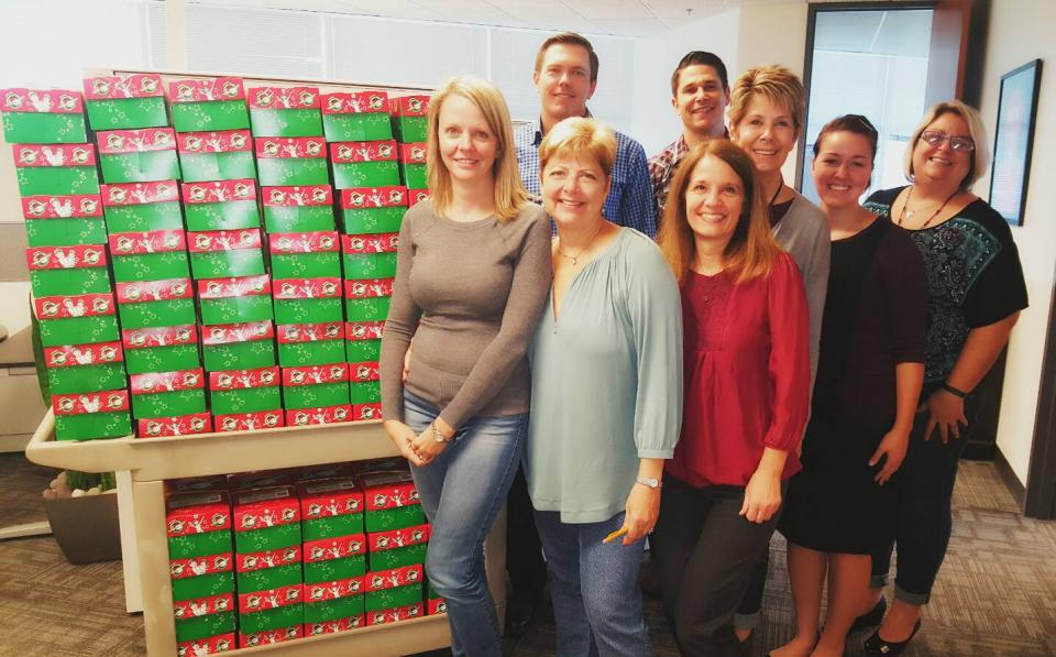 BKS colleagues donated over 140 boxes to Operation Christmas Child in 2016