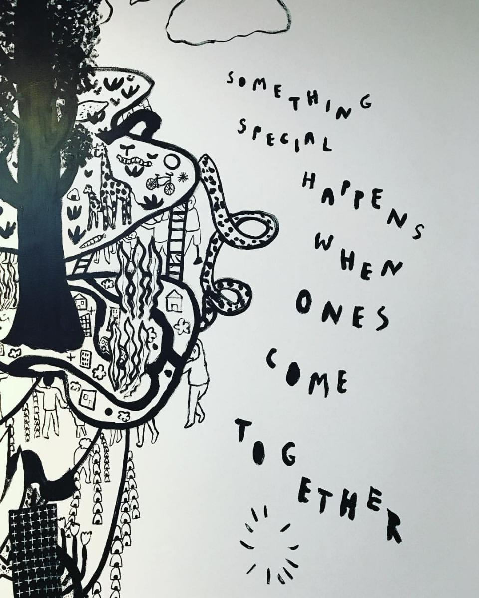 A caption from the mural in our office by illustrator Yumi Sakugawa about the power of ones coming together to create change in the world