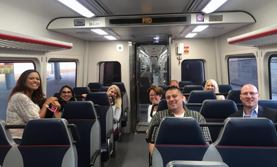 Team HRMS trying out the A-Line in Denver to Union Station.