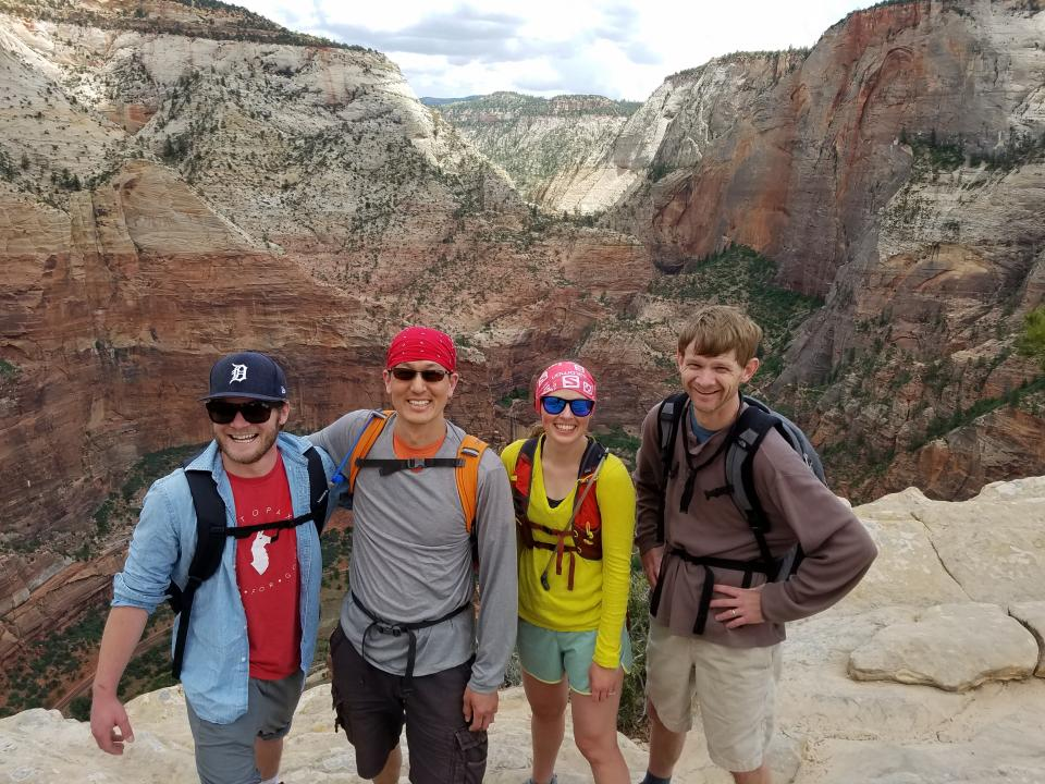 Lucidites hiking Angels Landing in Zion National Park During Annual Company Retreat