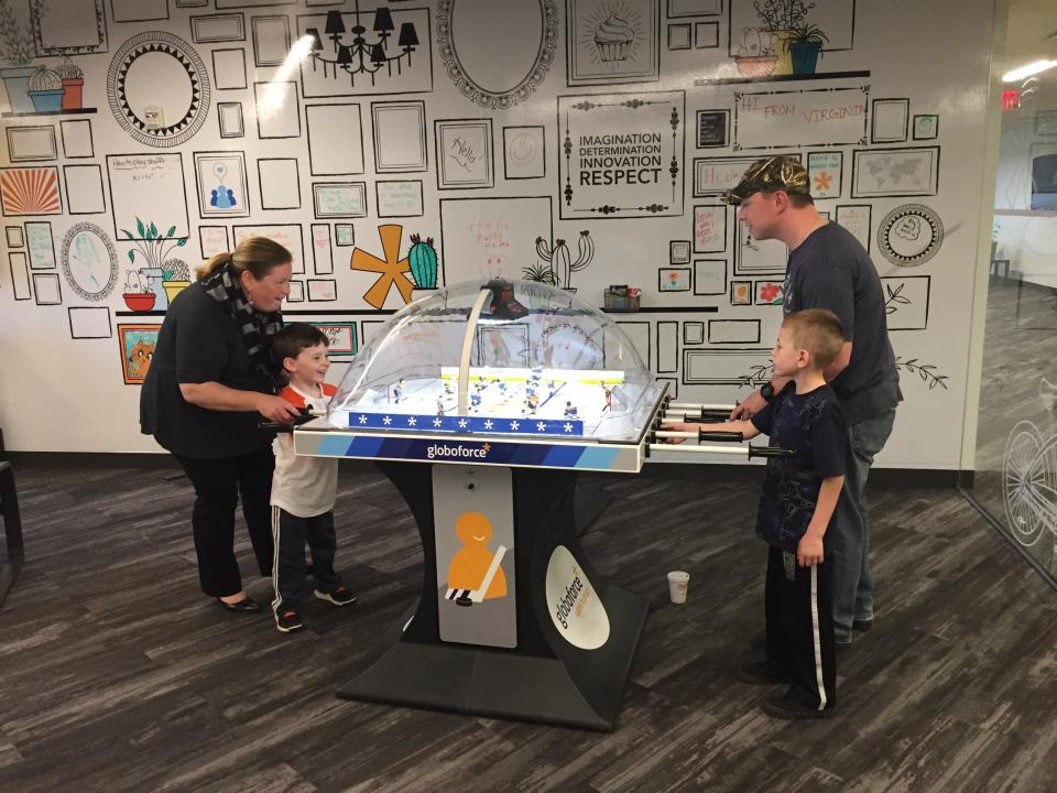 Working human means bringing your entire self to work—our #globofamily extends well beyond these office walls. This year's Bring your Kids to Work Day featured face painting, coloring, sand sculptures, snacks, and heated bubble hockey matches.