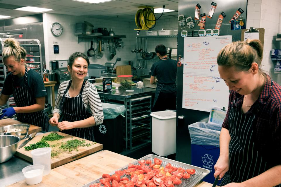 Not everyone at Thumbtack works behind a screen. Our culinary team works hard to bring us delicious, locally-sourced food every day.