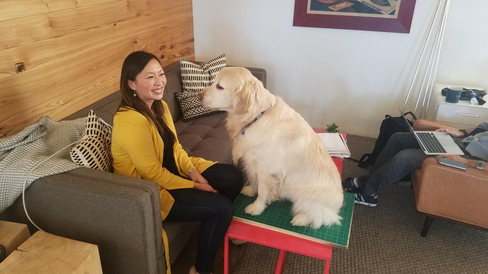 Having a conversation with our Director of Training, Bode (our founders lab)