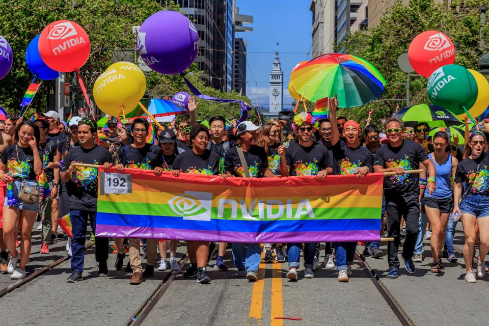Some 300 NVIDIANs gathered this summer to march in San Francisco's annual Pride Parade.