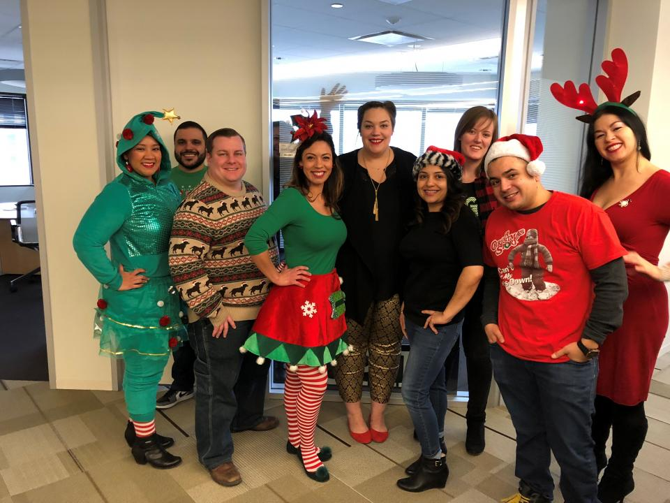 We really like to dress up for holidays! Here, some of our Certifications team show off their holiday spirit.