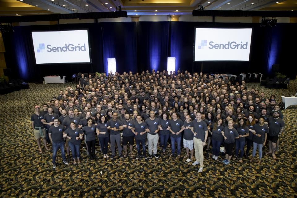 SendGrid Employees Arm-in-Arm at its 2018 All Company Kick Off