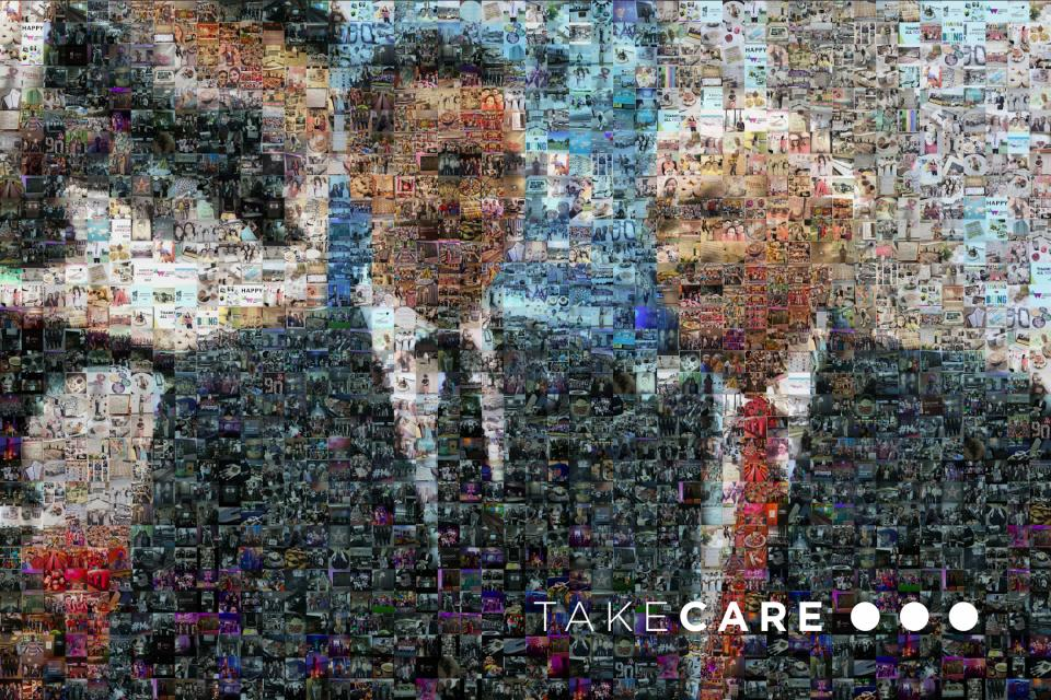 TakeCare mosaic of Mr. Marriott and CEO Arne Sorenson created from thousands of #Associate Appreciation Week photos from associates across the globe