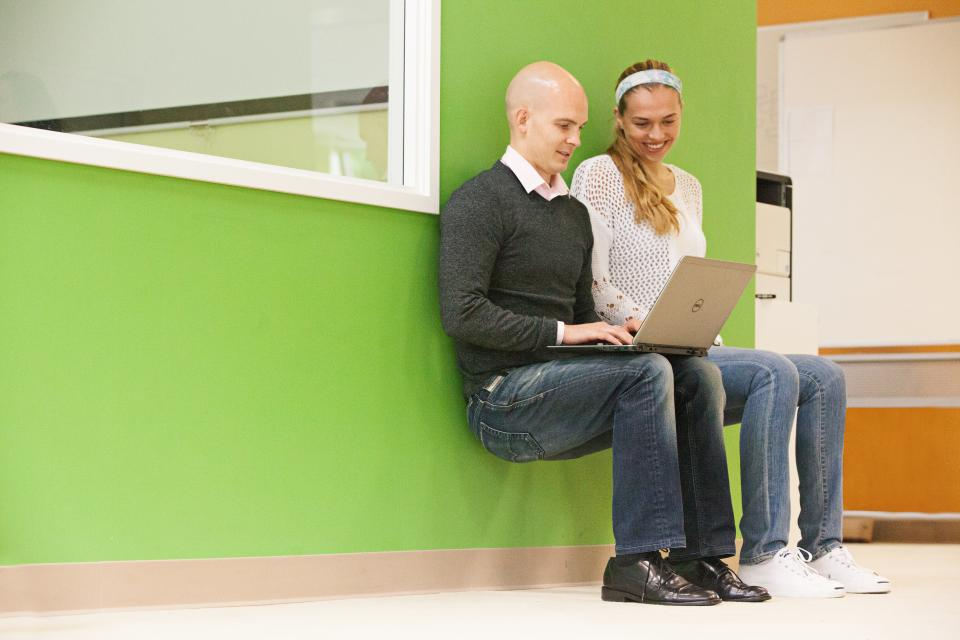 We encourage creative meeting environments like a wall-sit to inspire creativity and get folks away from their desks