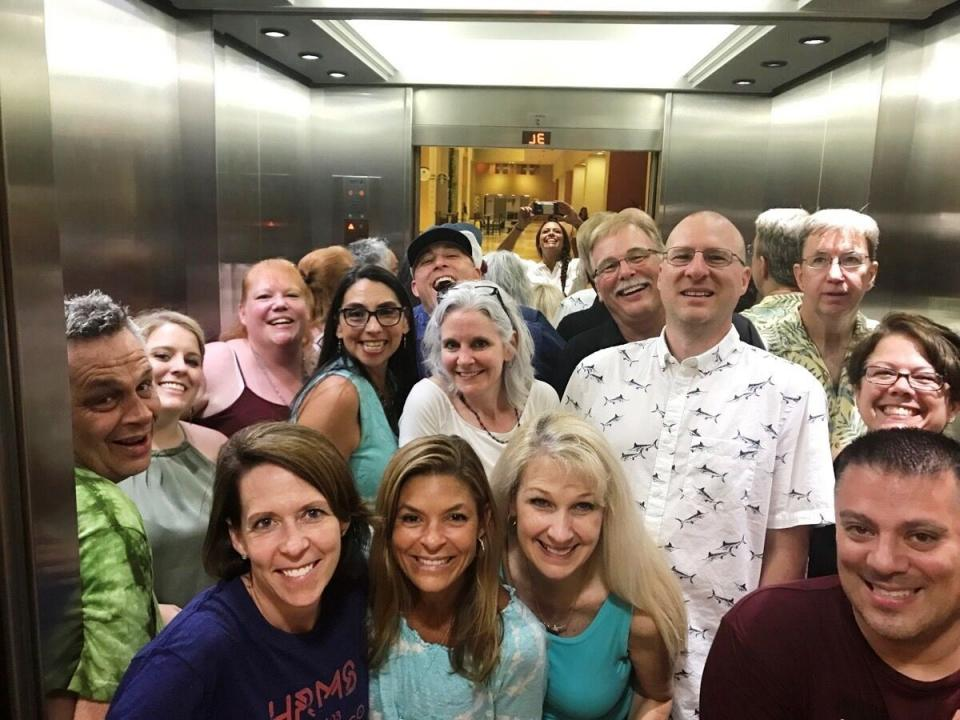 How many HRMS team members fit in an elevator?