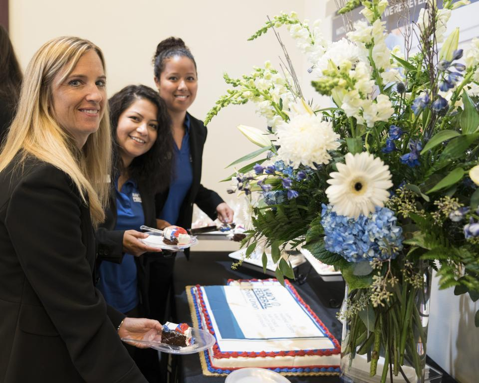 Employees celebrate the opening of Navy Federal's 300th branch.