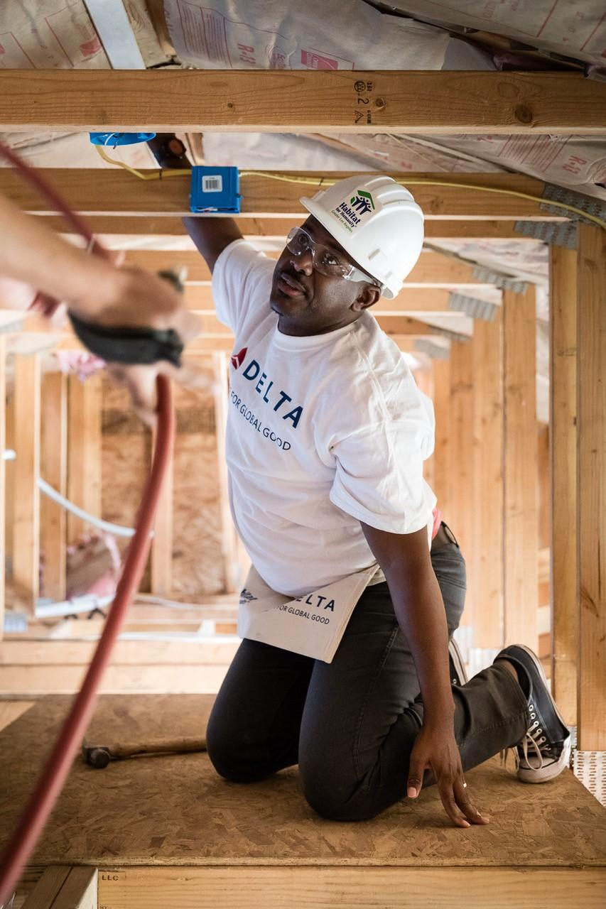 Delta people work on their seventh Los Angeles build for Habitat for Humanity.