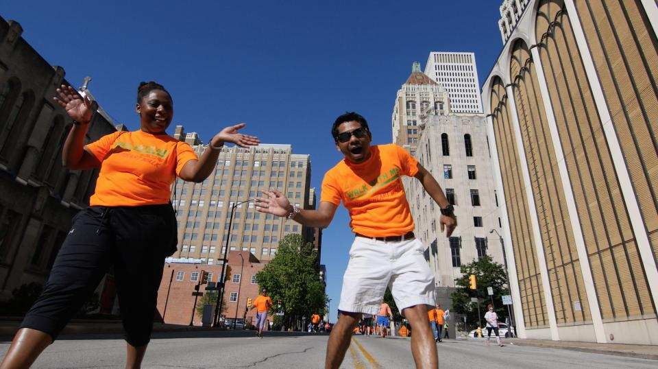 Our team having fun and exercising in downtown