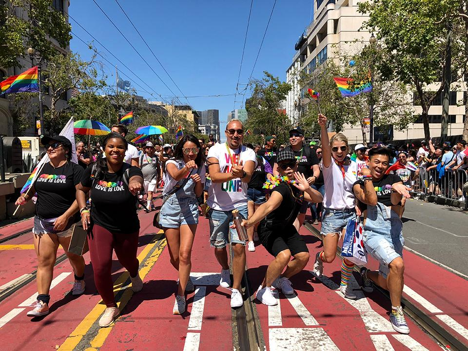 Old Navy employees march in Pride parades in SF, and around the country.