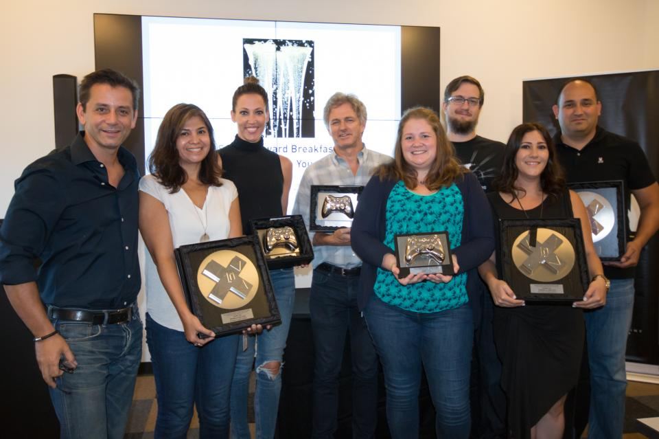 At Activision Blizzard, service anniversaries are celebrated at an intimate executive breakfast where employees receive the classic 'bronzed' game controllers.