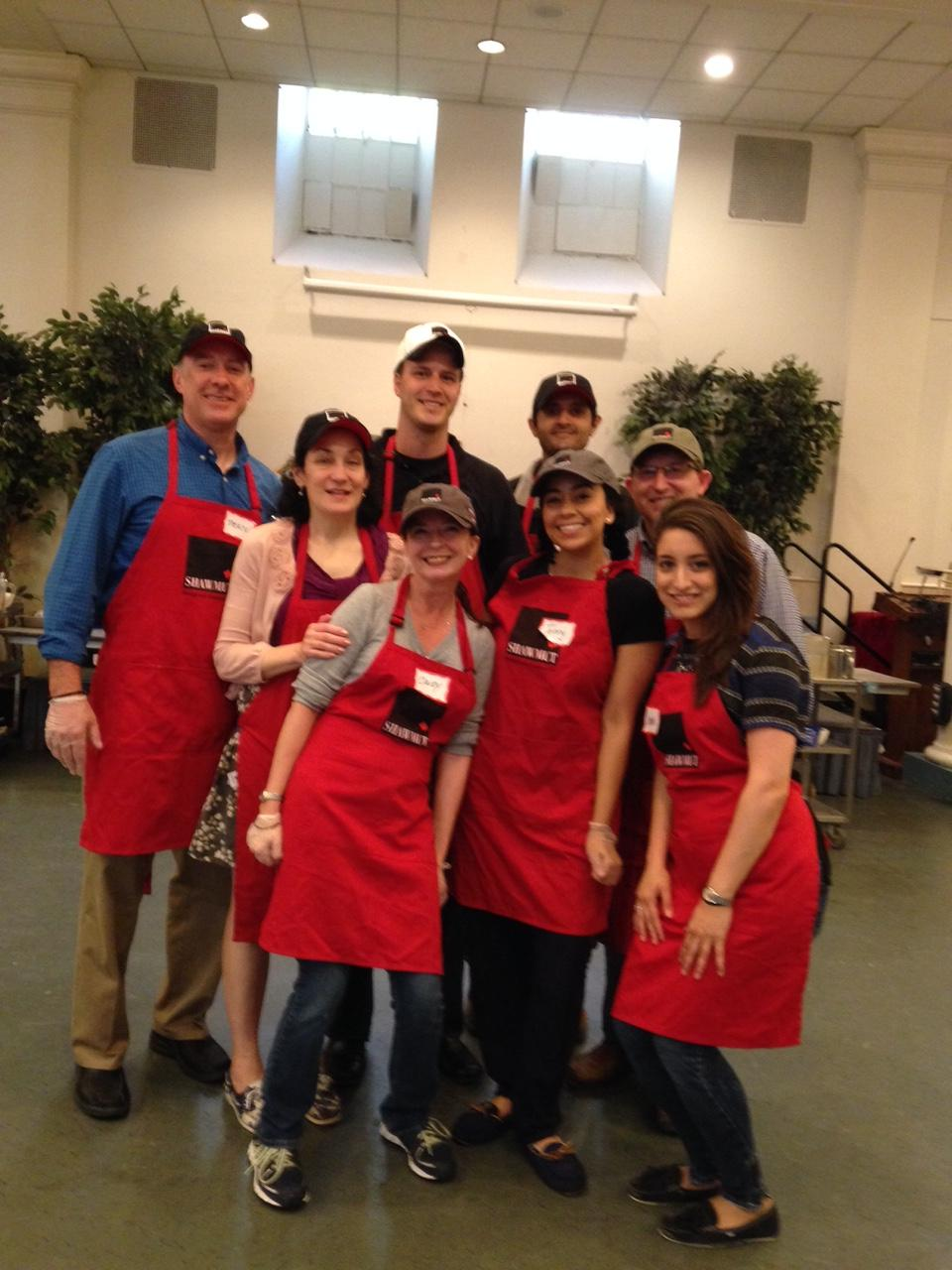 Shawmut volunteers ready to go serve lunch at the All Souls Friday Soup Kitchen in New York.