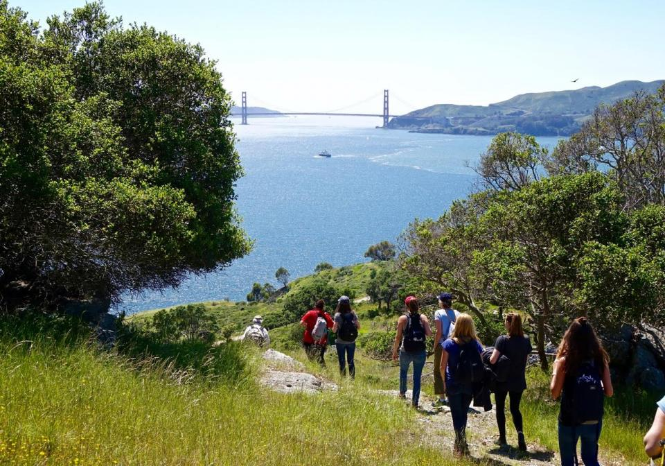 Blue Beyond team members hike on Angel Island during one of our Blue Beyond Days.