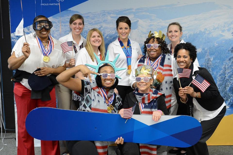 Liberty Mutual employees celebrate its Olympic sponsorship