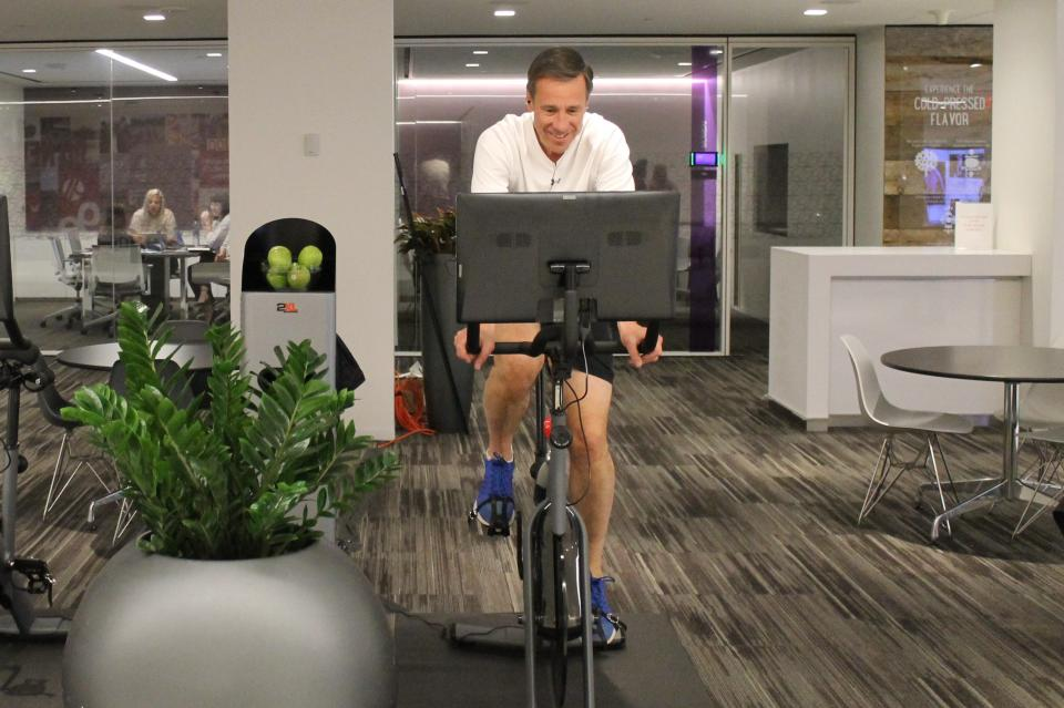 Marriott CEO Arne Sorenson takes a spin on a new Peloton bike!